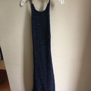 Navy beaded formal dress